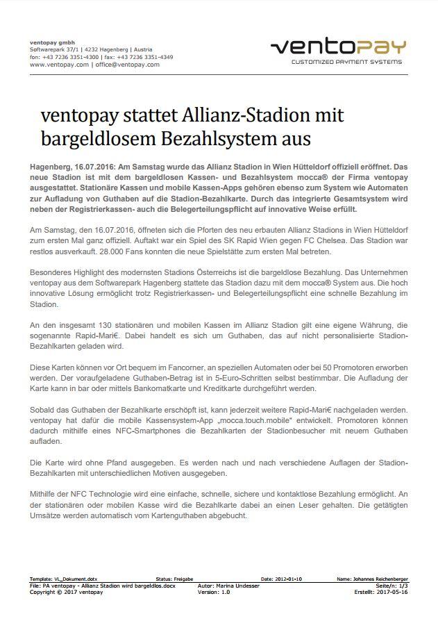 ventopay stattet Wiener Allianz Stadion mit bargeldlosem Bezahlsystem aus