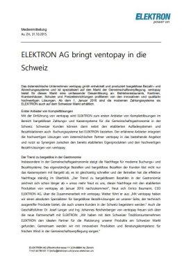 ELEKTRON AG bringt ventopay in die Schweiz