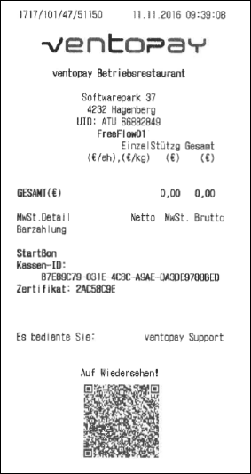ventopay receipt with QR code