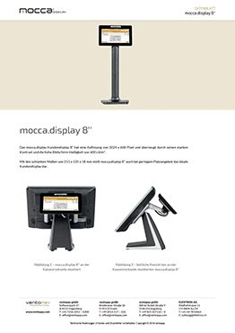 Datenblatt mocca.display Kundendisplay 8''